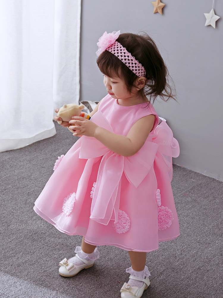 3Pcs Set Baby Girl Baptism Dress Pageant Princess Wedding Christening Dresses Kids Frocks Gown With Head Band Jacket Shawl