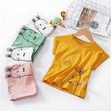 Детская футболка; летние хлопковые футболки для маленьких мальчиков и девочек; повседневная одежда с короткими рукавами; топы для малышей; одежда для детей; футболки с кроликом