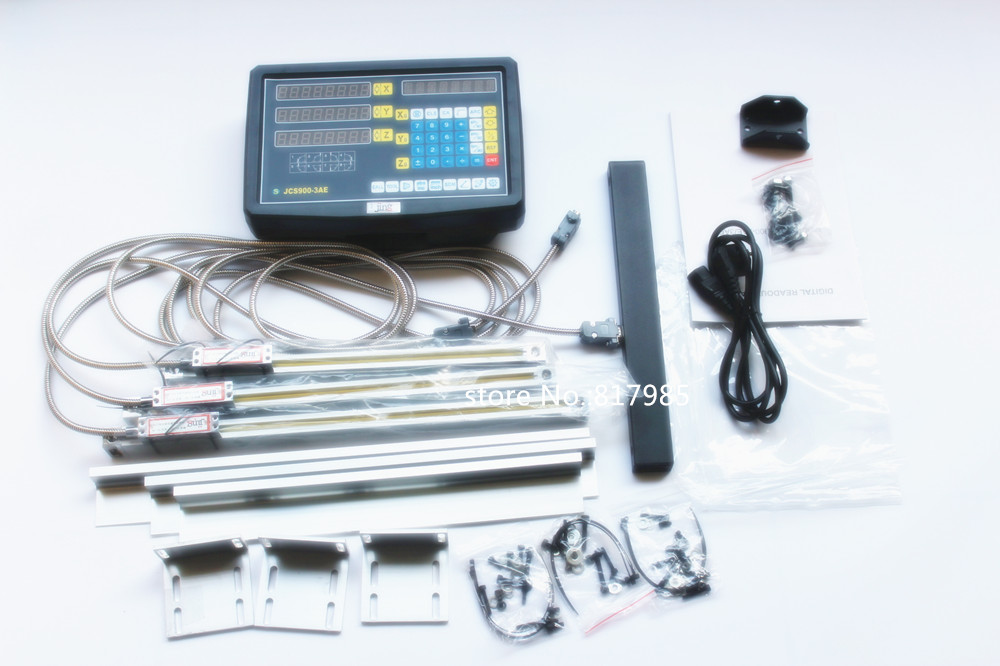 Free shipping new 3 Axis digital readout with linear scale 100 1020mm 5micron linear encoder complete