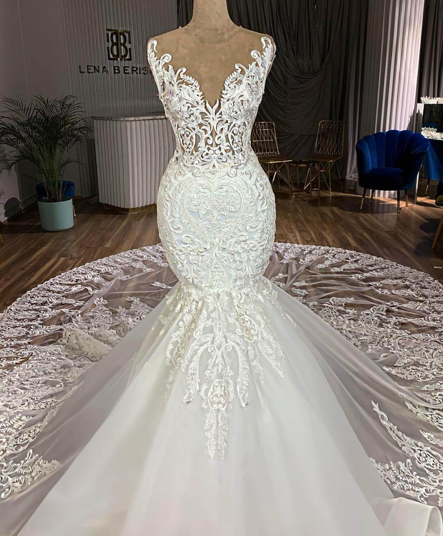Vestidos De Novia Gorgeous Royal Train Lace Mermaid Wedding Dress 2019 Illusion Button Back Sleeveless Wedding Gowns Gelinlik