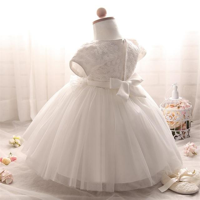 Cute White Baby Christening Dress