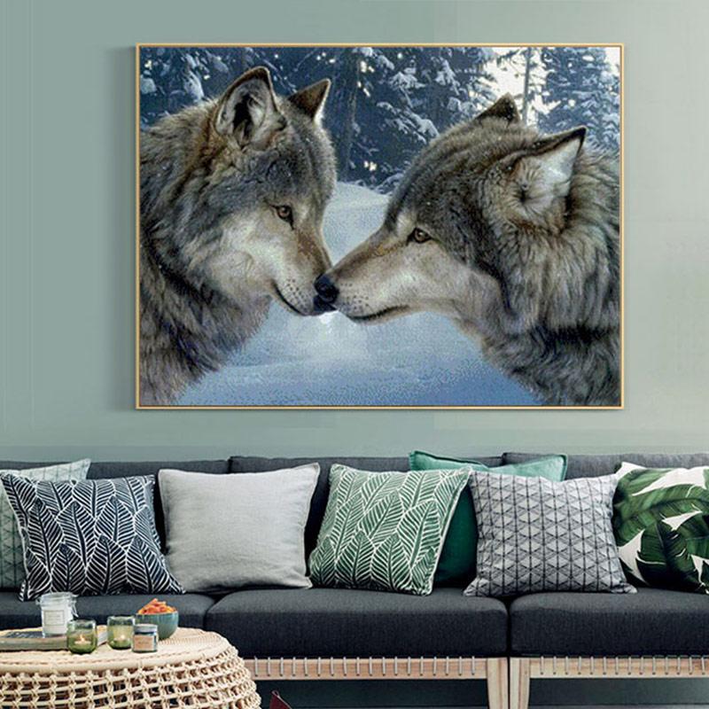 Meian Cross Stitch Embroidery Kits 14CT Wolf Animal Snow Cotton Thread Painting DIY Needlework DMC New Year Home Decor VS-0002