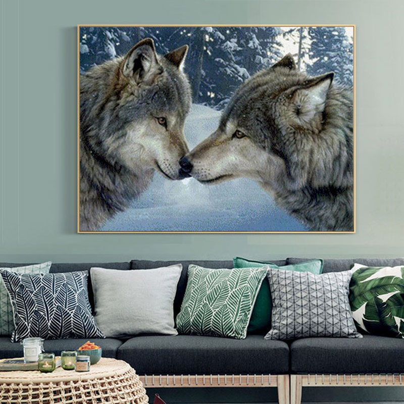 Meian Cross Stitch Embroidery Kits 14CT Wolf Animal Snow Cotton Thread Painting DIY Needlework DMC New Year Home Decor VS-0002