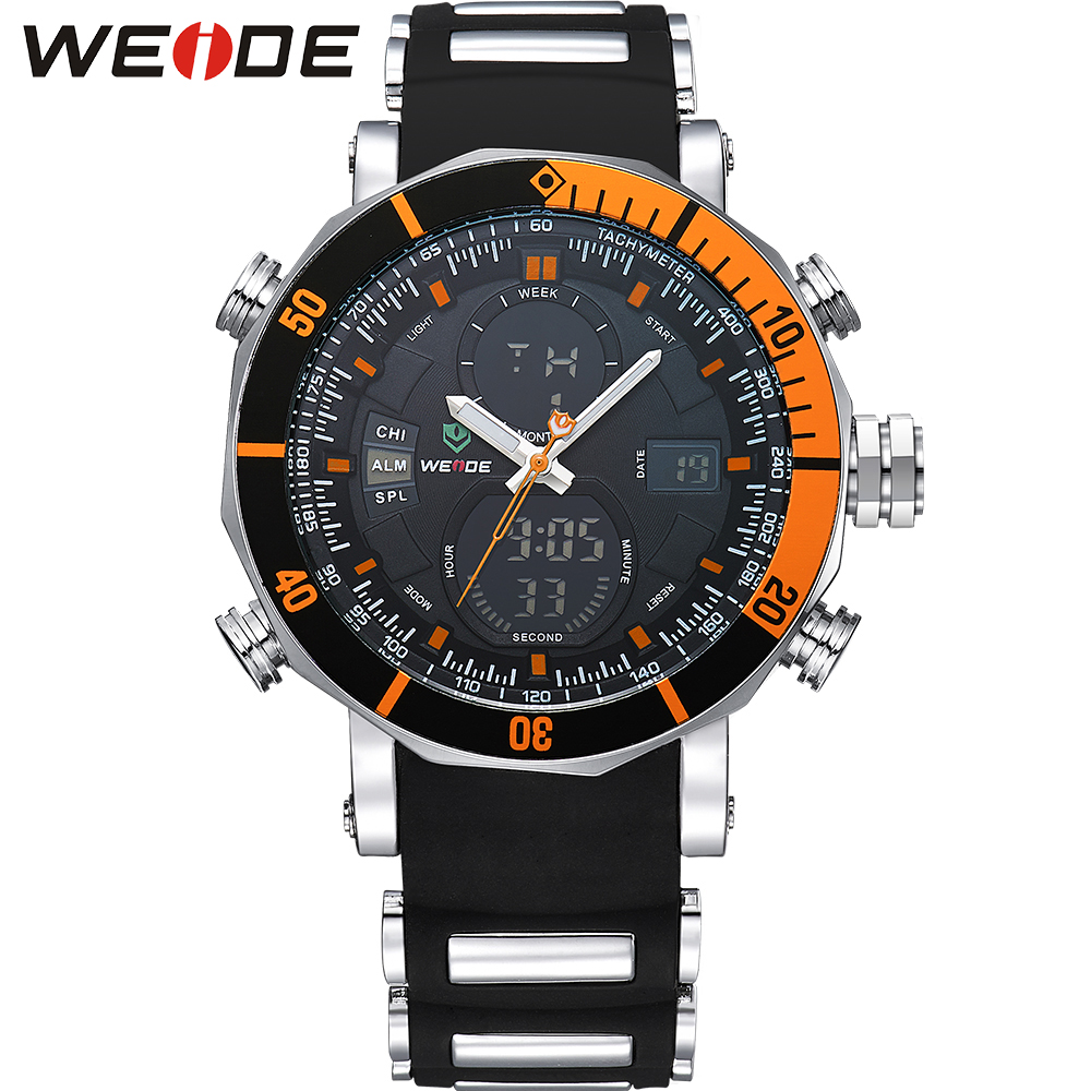 WEIDE Brand Sport Watch Stop Watch Auto Date 30M Water Resistant Quartz Round Big Dial Fashion Casual Orange Color Men Watches weide high quality watch men luxury brand big dial 3atm water resistant stainless steel back lcd wristwatches with alarm items