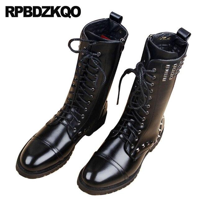 Motorcycle Metalic Mid Calf Men Winter Rock Shoes Black Stud Vintage Boots Faux Fur Punk Tall Designer Fashion Lace Up Rivet