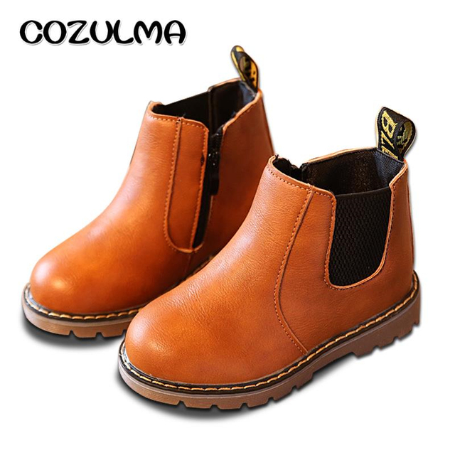 COZULMA Autumn Winter Boys Girls Sneakers Kids Sneakers Child Boys Girls Martin Boots Handmade Leather Boots Toddler Kids Shoes