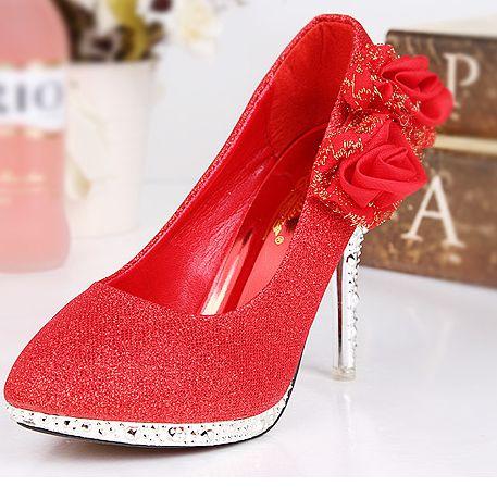 10cm thin heels pumps shoes woman gold red flowers decoration TG1471 ladies bridal wedding shoes female party pumps