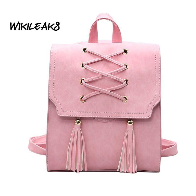 WIKILEAKS Fashion Tassel Square Girls Backpack Scrub PU Leather Women Backpacks Fashion School Bags for Teenagers