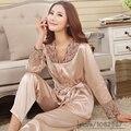 2016 Primavera Verão Outono Mulheres Conjuntos de Pijama de Seda de Sleepcoat & Shorts sono Senhora Camisola Casa Feminino Roupas Plus Size 3XL