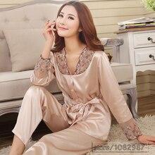 2017 spring summer autumn silk women pajamas sets of sleepcoat & sleep shorts lady nightdress  home clothes  3xl