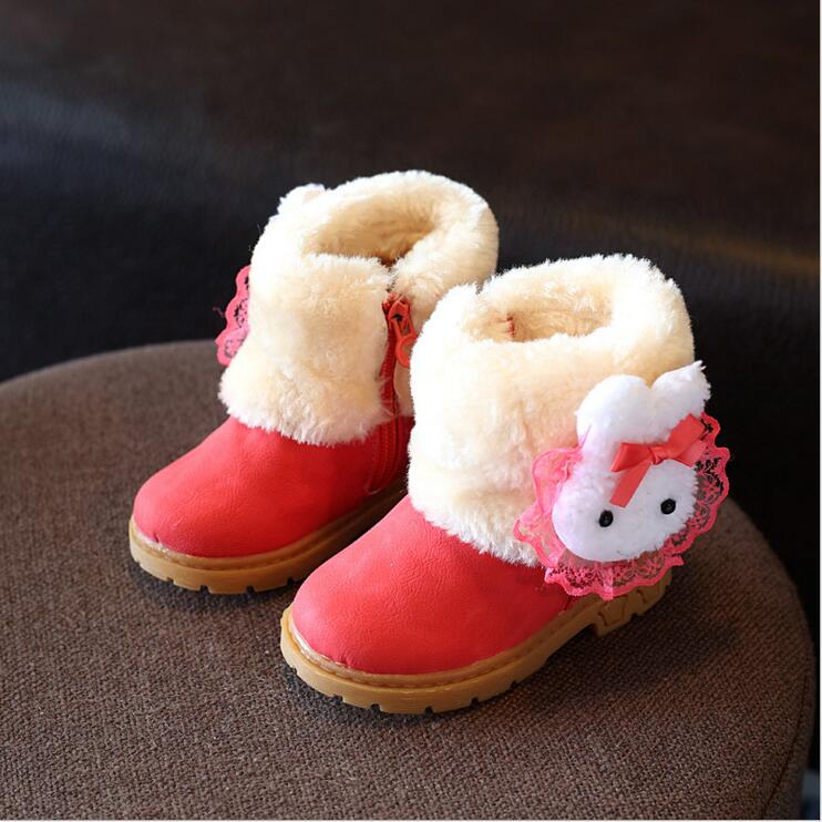 Princess Girls Boots Children Shoes New Winter Plush Warm Bow Fashion Girl Snow Boots Kids Soft Bow Cute Girls Shoes Size 21-30