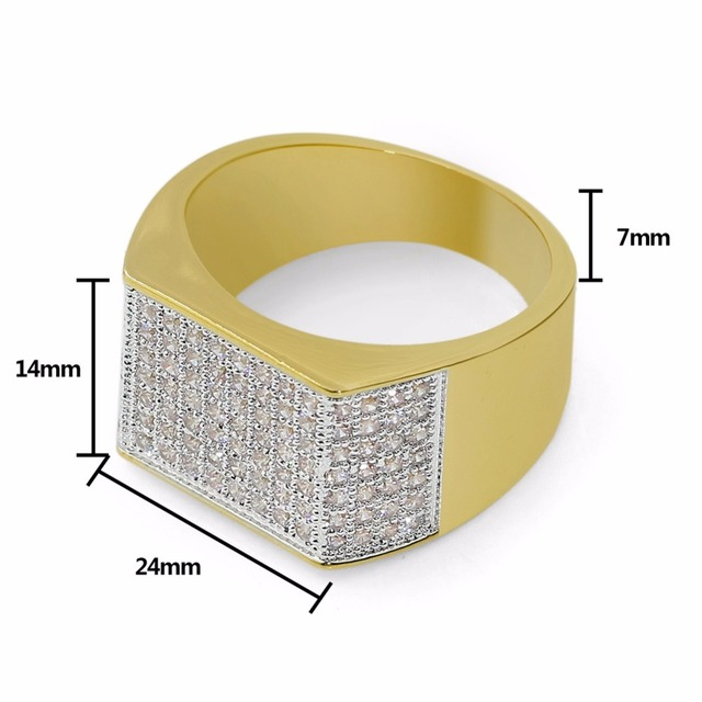 AAA Cubic Zirconia Pave Bling Ice Out Hip Hop Ring Male Gold Color Copper Material Luxury CZ Stone Square Rings for Men Jewelry