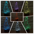 New Night Light 3D 7 Colors Changing Princess Beautiful Elegant girl with Skirt LED Table Lamp as Children Christmas Gifts