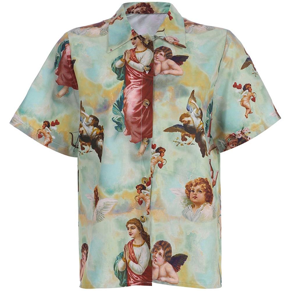 Harajuku Women Button Down   Blouse     Shirt   Vintage Angel Print Short Sleeve Summer Casual Top Beach Lady   Shirts   Female Clothes