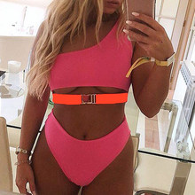 PickUp Pink One-Shoulder Bikini Push Up Sexy Swimwear Bathing Suit New Buckle Swimsuit Women High Waist Beachwear Bathing Suit Biquini compare