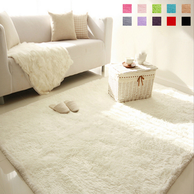 Great Soft Fluffy Shaggy Rectangle Carpet Floor Mat Living Room Decorative  Blanket Area Rug Solid Color White Part 27