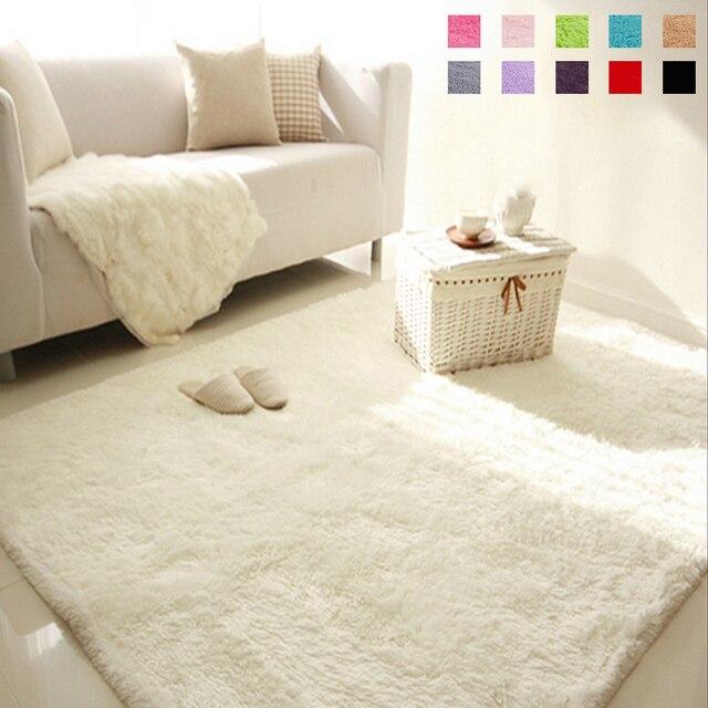 Weichen, Flauschigen Shaggy Rechteck Teppich Bodenmatte Wohnzimmer  Dekorative Decke Bereich Teppich Einfarbig Weiß Beige Rosa
