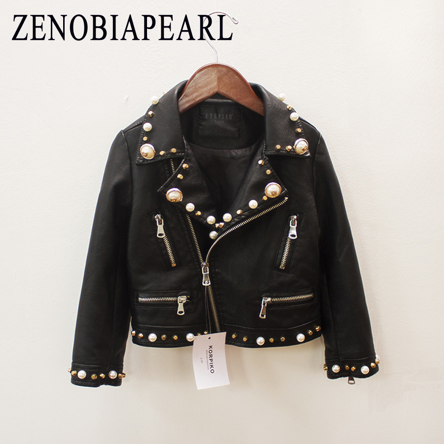 ZENOBIAPEARL Kids Clothes PU Leather Girls Jackets Children Outwear For Baby Girls Boys Zipper Clothing Coats Costume 1 14 Years