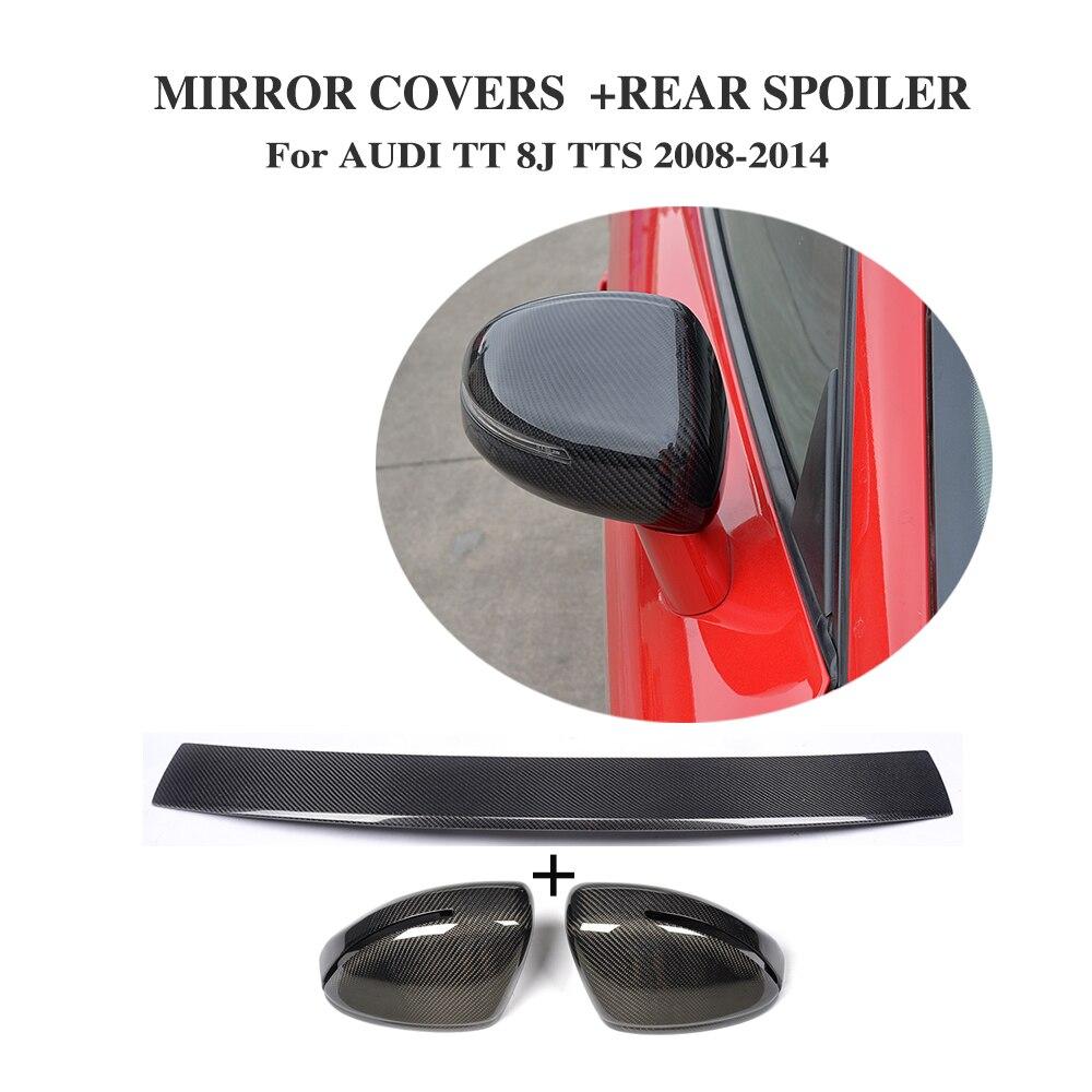 Carbon fiber Side Door Rearview Mirror Covers Rear Duck Spoiler for Audi TT 8J MK2 TTS 2008 2014 3PCS/Set
