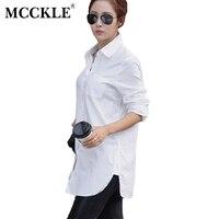 MCCKLE Women Blouses Shirts Summer Spring Tuen Down Collar Buttons Buttons Femininas Long Sleeve Blusas Womens
