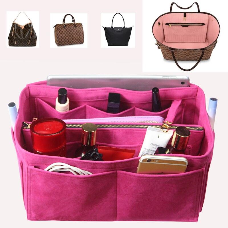 Fits Neverfull Speedy Delightful Velvet Bag Handbag Organizer Bag In Bag Tote Purse Insert Organizer(w/Detachable Zip Pocket)