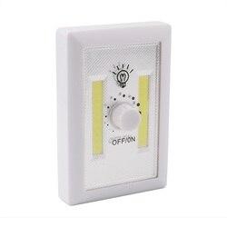 Aimant facile à installer COB LED LED très brillante veilleuse à piles interrupteur rotatif marche/arrêt LED lampe de nuit ajuster lumineux
