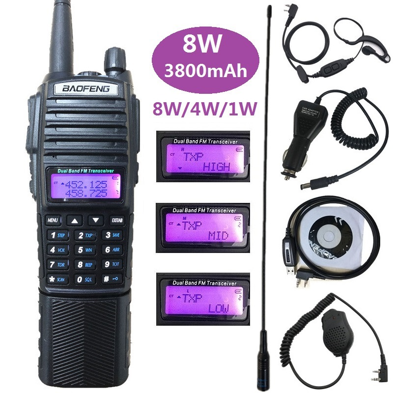 8W 3800mAh Baofeng UV-82 Walkie Talkie UHF VHF Marine Ham CB Amateur Radio Station Amador Scanner HF Transceiver PMR 446 UV 82