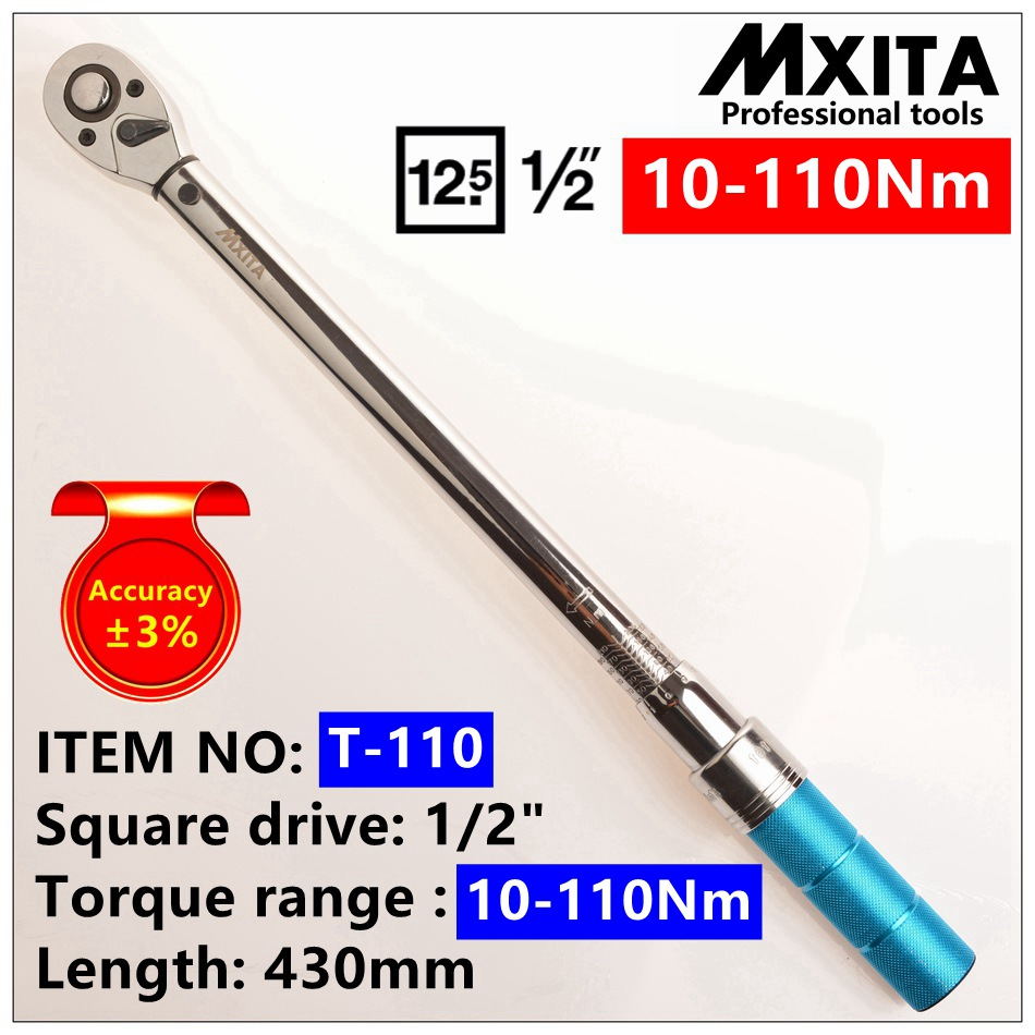 MXITA hand tool 1/2 10-110N Professional Torque Wrench Bike Repair Tool Torque Spanner Tools mxita 1 2 5 60n adjustable torque wrench hand spanner car wrench tool hand tool set