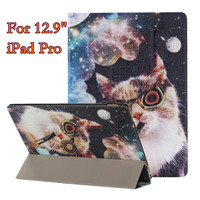 Lovely PU Leather Case Cover For IPad Pro 12 9 Cute Patterns Stand Cover Foldable Smart
