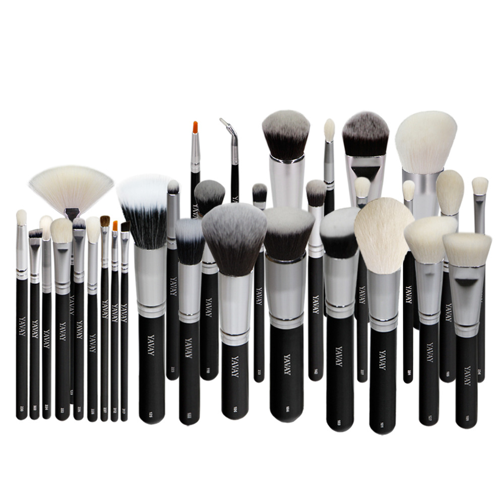 YAVAY Brand New 32pcs Original Professional Luxury Artist Makeup Brush Set Animal Hair Synthetic Hair Makeup