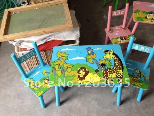 Free Shipping Children Cartoon Wood Table With 2 Chairs Drop
