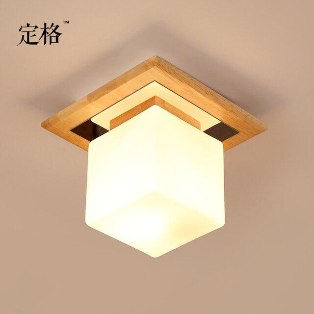ไม้ญี่ปุ่นโคมไฟเพดาน LED สแควร์ Entrance Corridor ห้องนอน 20*20 ซม.