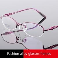 Viodream עסק סופר אור סגסוגת טיטניום חצי מסגרת משקפיים נשים מתכת משקפי שמש מרשם Oculos דה גראו