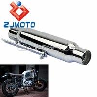 Universal Chrome Motorcycle 12 Shorty Muffler Exhaust Pipe Muffler Silencer For BMW Honda Yamaha Suzuki Vintage Cafe Racer