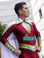 3D Printed NEW Captain Shazam Cosplay Costume Spandex Zentai William Batson Superhero Costume Halloween Bodysuit With Cape
