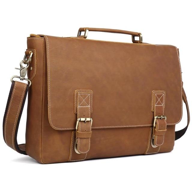e185feffcba Luxury Designer Leather Briefcase Men 16   Laptop Bag Vintage Cowhide Leather  Satchel Messenger Bags Shoulder Bag Large Brown