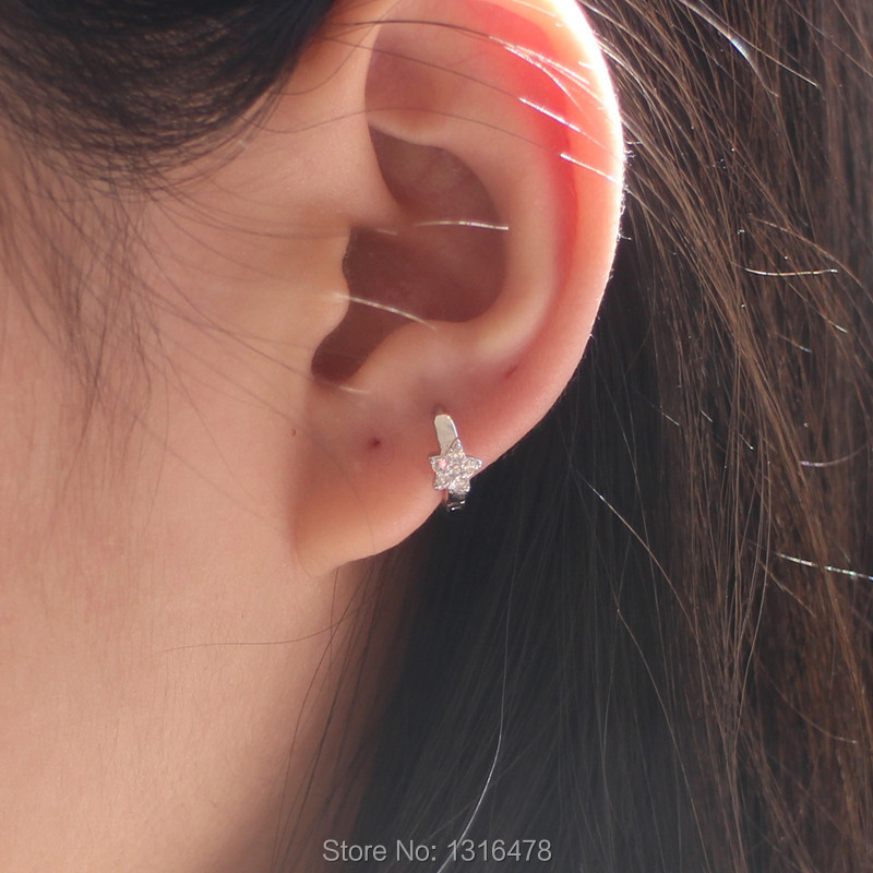 b8f02b5bb New Sterling Silver full drill cute little star shining delicate little  ears small earrings ear buckle bag small ear-in Stud Earrings from Jewelry  ...