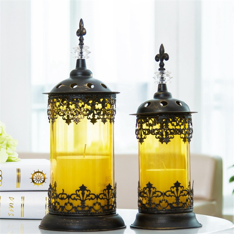 Europe Style Retro <font><b>Candle</b></font> Holders Hollow Metal Candlestick Home Decoration Candelabros Wedding Candelabra Moroccan Lanterns
