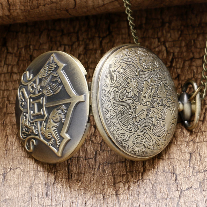 Men's Bronze Stainless Steel Case White Arabic Witchcraft and Wizardry Badge Long Chain Pocket Watch