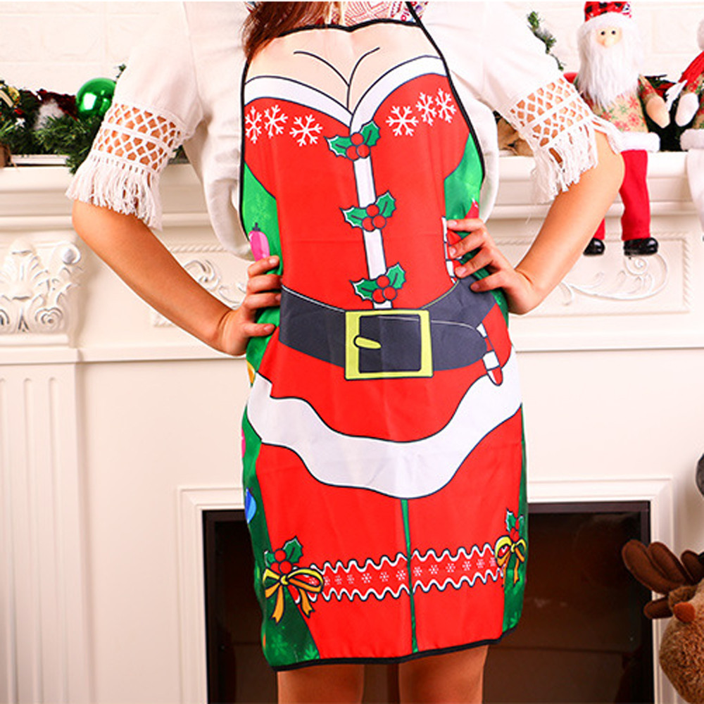 Christmas decoration apron Novelty Cooking Kitchen Apron Funny BBQ Christmas Gift Funny Sexy Party Apron Kitchen Accessories