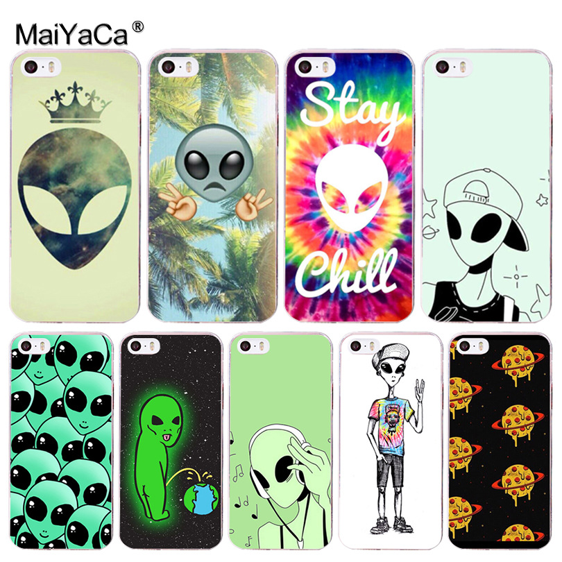 MaiYaCa Trippy Tie Dye Peace sign Alien Top Detailed Popular Case for iPhone 8 7 6 6S Plus X 10 5 5S SE 5C 4 4S Coque Shell