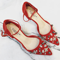 Red Bridal Shoes Fashion Bling Bling Rhinestone Shoes Women Low Heels Women's Shoes With Heels Sexy Woman Shoes 2017 Summer