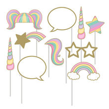 цена 1Set Rainbow Unicorn Photo Booth Props Baby Kid Shower Photo Booth Props on A Stick Wedding Birthday Party Decoration Supplies
