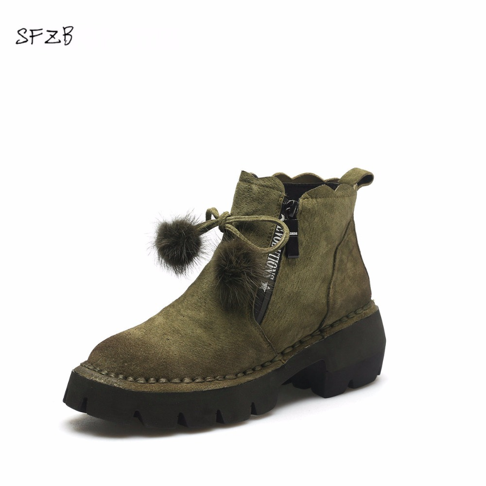 SFZB 2018 Women Fashion Zipper Design Ankle Boots Square High Heel Pointed Toe Cow Suede Ladies Motorcycle Boots nemaone 2018 women ankle boots square high heel pointed toe zipper fashion all match spring and autumn ladies boots