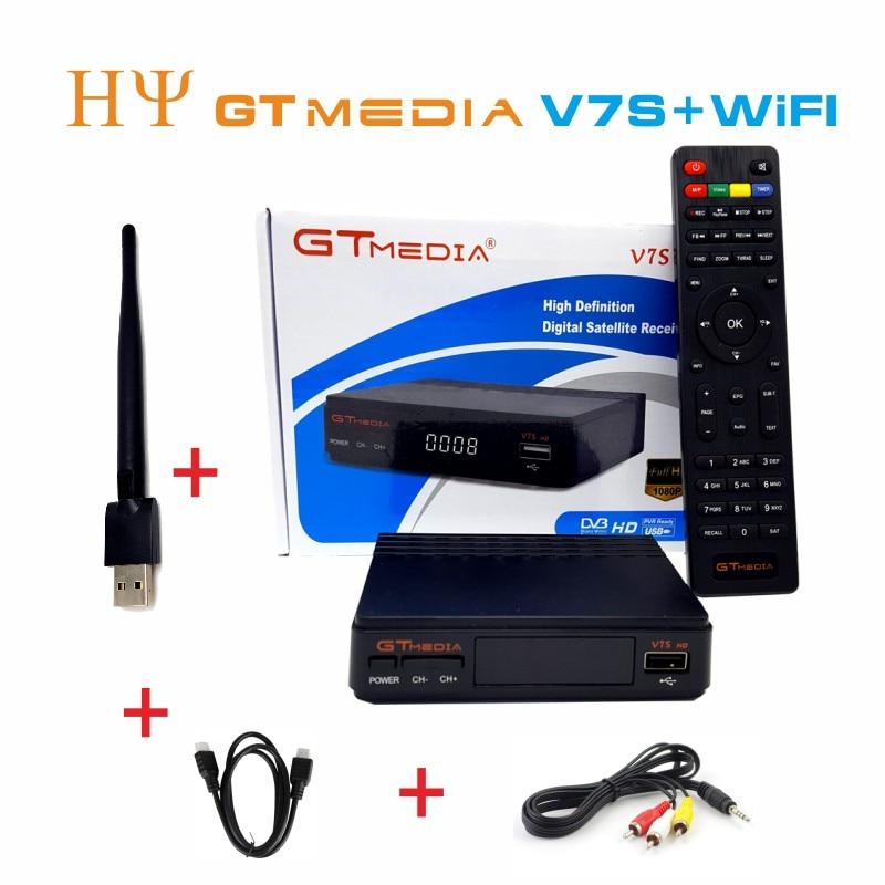 все цены на Freesat V7S 3pcs gtmedia v7s DVB-S2 Satellite Receiver Full 1080P Receptor Support Ccam PowerVu YouTube Biss key Set Top Box онлайн