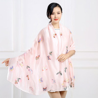 C016 Fashionable ladies butterfly scarves silk scarves silk scarves shawl