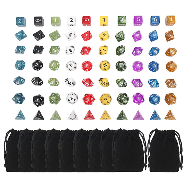 Board Game Dice 20 Set 4D 6D 8D 10D 12D 20D With Pouch Bags 70pcs Polyhedral Dice 10 Sets For Dungeons And Dragons DND RPG MTG