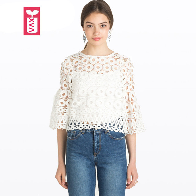 251b9445aa9 Drop Ship High-grade Hollow Out Circle Lace Womens Three Quarter Flare  Sleeves Short Crop