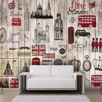 Европейский Винтажный деревянный пол UK обои с Лондоном росписи большой Размеры картина, фотообои для Гостиная ТВ фон Настенный декор