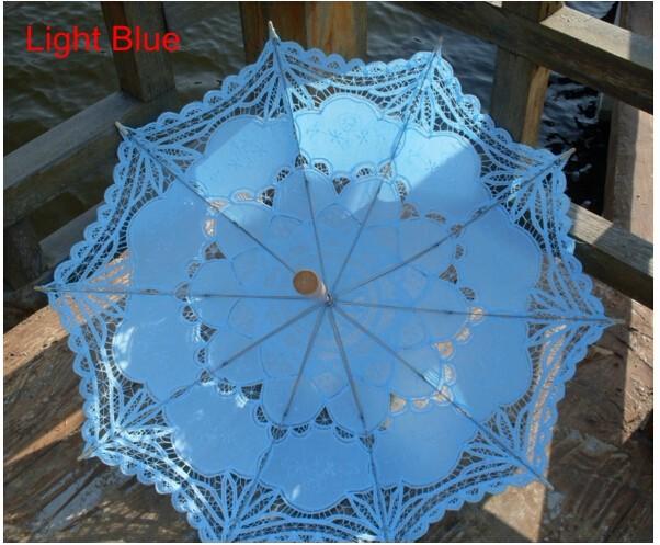 New Lace Umbrella Cotton Embroidery White/Ivory Battenburg Lace Parasol Umbrella Wedding Umbrella Decorations Free Shipping 38